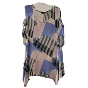 Adrianna Papell Multicolor Cold Shoulder Shirt XL